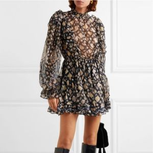 NWT ULLA JOHNSON VIENNE PRINTED METALLIC DRESS